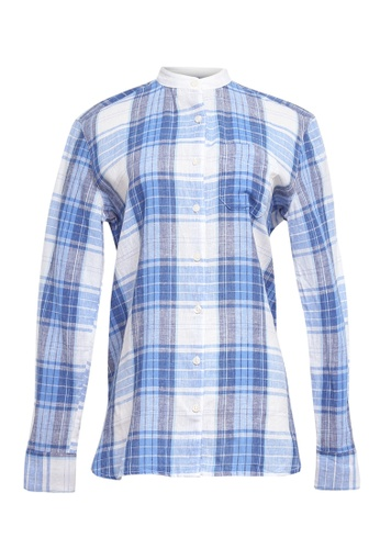 Chaps blue Chaps Plaid Linen Button-Down Shirt DD3E4AA6795829GS 1 2e92564919c25