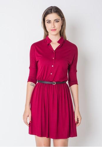 jersey maroon dress