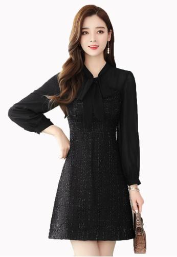 Halo black Winter Chiffon Sleeves Shift Dress 93340AA12C861CGS_1