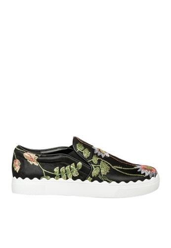 eq:iq black eqFLORA Floral Embroidered Slip-On Sneakers EQ351SH0FJW4SG_1