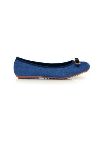 SHINE blue Square Toe Ribbon Flats SH554SH0GE8BSG_1