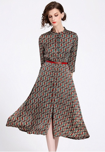 252c600f74 NBRAND multi Floral Print A-Line Dress (Belt is not included)  E8957AAC943192GS_1