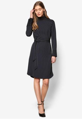 細條紋腰帶長袖連esprit台灣門市身裙, 服飾, 洋裝