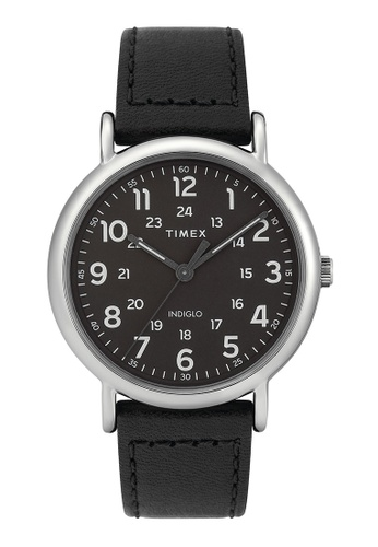 fd3a17f38 TIMEX black Timex - Weekender 40mm - Silver Case, Black Leather Strap Watch  - (. CLICK TO ZOOM