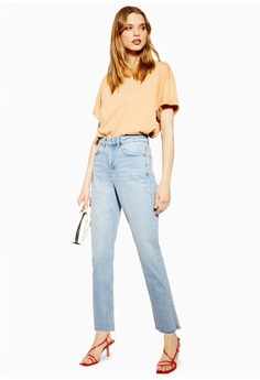 8f2de66644c09 TOPSHOP Petite Bleach Raw Hem Straight Jeans S$ 89.90. Sizes 24 25 26 28 30
