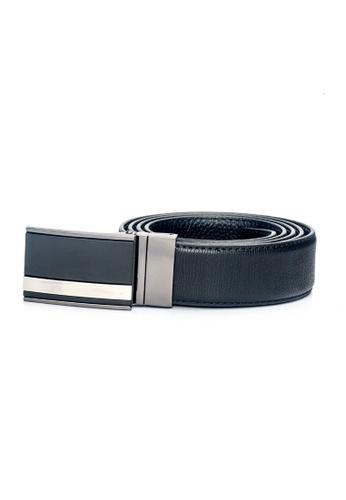 ENZODESIGN black Fine Textured Leather Two Tone Buckle Belt EN357AC0F58TSG_1