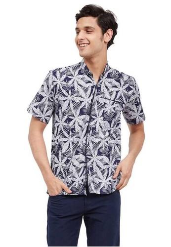 Hamlin navy Dwan Shirt Baju Kemeja Atasan Kasual Pria Lengan Pendek Material Cotton Polyester ORIGINAL - Navy Blue 3F277AA7A5068FGS_1