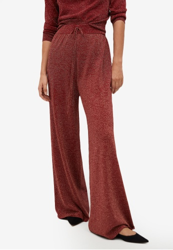 Mango red Glossed Effect Knit Trousers 4E8E6AAC9E84A2GS_1