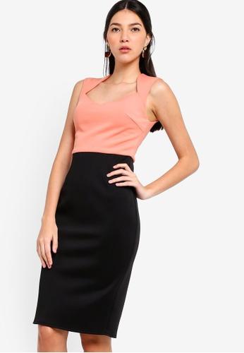 ZALORA black and pink Sweet Heart Neck Sheath Dress 489A3AA6F62C47GS_1