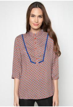 Nehru Collar Printed Blouse