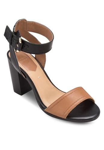 Tagle 撞色寬esprit 衣服帶木製粗跟涼鞋, 女鞋, 細帶高跟鞋