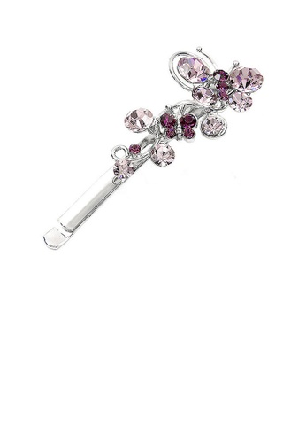 Glamorousky purple Twin Flying Butterfly Hair Clip in Purple Austrian Element Crystals 9AFC7ACF1B5043GS_1
