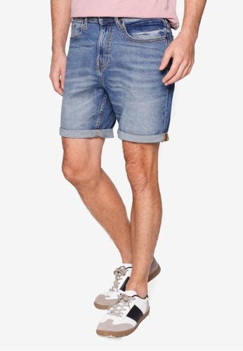Burton Menswear London blue Blue Vintage Wash Organic Cotton Shorts AD4B1AAA3655B5GS_1