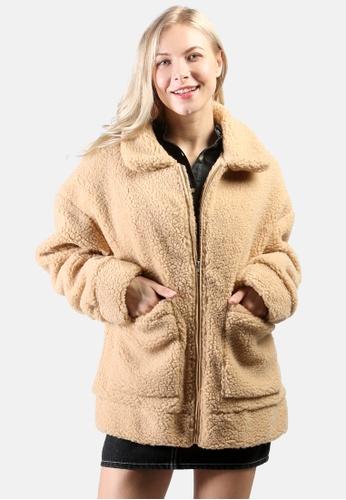 London Rag brown Winter Teddy Jacket FB1ACAA68A2FD3GS_1