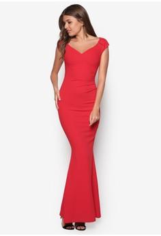 Pleated Sleeve Maxi Dress