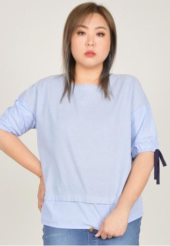 Cheetah blue Arissa Plus Size Puffed Sleeve Blouse - ARS-13556 0DB77AA5D7A226GS_1