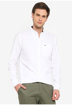 b496bc3223 Hollister white Long Sleeve Slim Oxford Shirt BE031AAF39936BGS_1