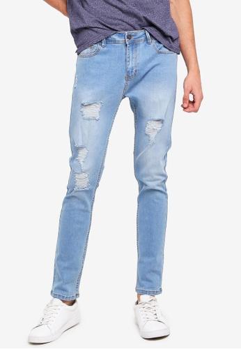 Penshoppe 藍色 刷破緊身牛仔褲 4257BAA581D6D0GS_1