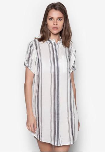 直條紋襯zalora 評價衫連身裙, 服飾, 洋裝