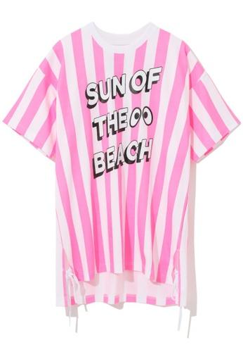 """Mini cream pink """"Sun Of The Beach"""" stripe tunic EE1B2AA8A8B304GS_1"""