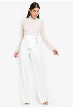 82d4f258978 MISSGUIDED Lace Top Belted Jumpsuit RM 299.00. Sizes 6 8 10 12 14