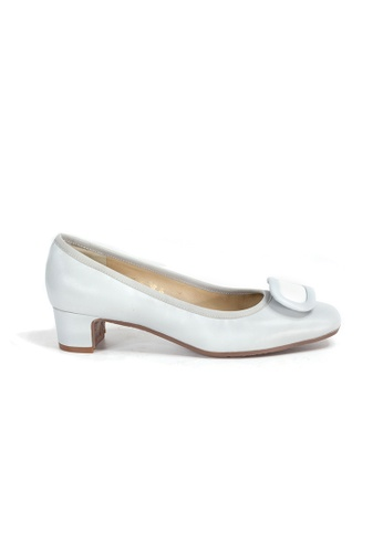 Shu Talk grey 60s Retro Elegant Aurdey Square Toe Low Heels A65D7SH9921EDCGS_1