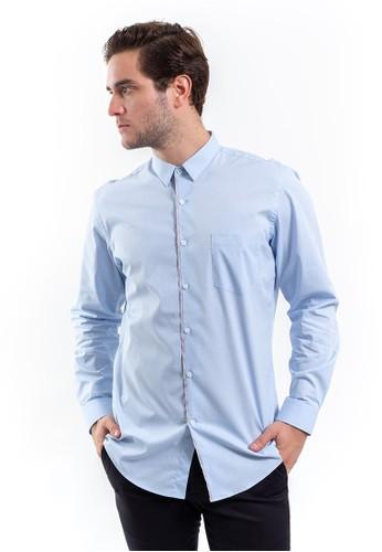 MANLY blue Manly Lorain Blue Slim Fit Long Sleeve Plain Shirt 9896CAAB226217GS_1