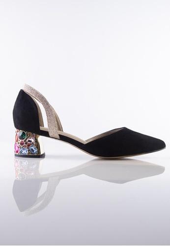 Stilaré black La Dolce Vita Embellished Mules in Black 398DBSHD3823F7GS_1