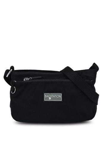 Bagstationz black Contrast Zip Nylon Mini Sling Bag BA610ACC1EF5D0GS_1