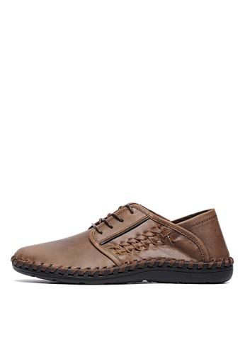 獨家手縫。2way後踩瘋馬牛皮編織休閒鞋-04744-咖色, 鞋, 休閒esprit香港門市鞋