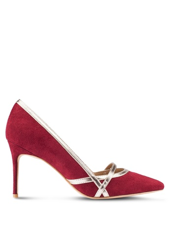 ZALORA 紅色 Court Heels With Gold Trim Details 3D176ZZ70A7BE3GS_1