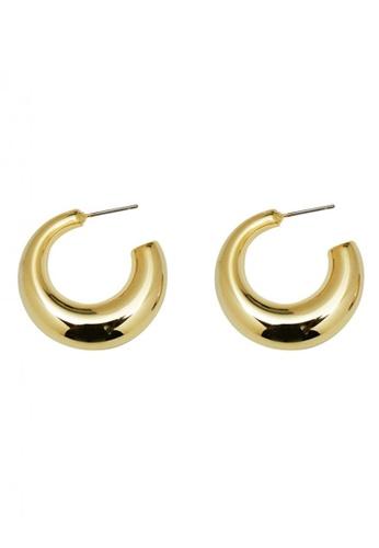 SKEDA gold Chunky Donut Hoop Earrings 635F0AC2F18C29GS_1