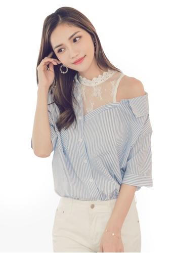 Yoco blue Lace Stripe Off Shoulder Blouse 3E078AA14B391EGS_1