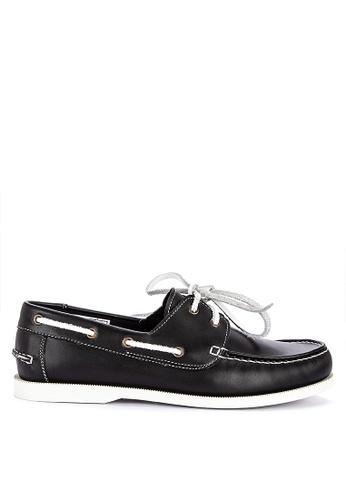 Brogue & Derby black Didier Genuine Leather Boat Shoes 5BB5BSHA0794E6GS_1