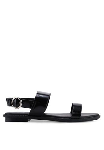 Nose 黑色 漆皮平底涼鞋 A0507SHA667017GS_1