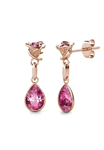 Her Jewellery gold Flower Dew Earrings (Rose Gold) - Made with premium grade crystals from Austria 9D9B7AC8A24E8EGS_1