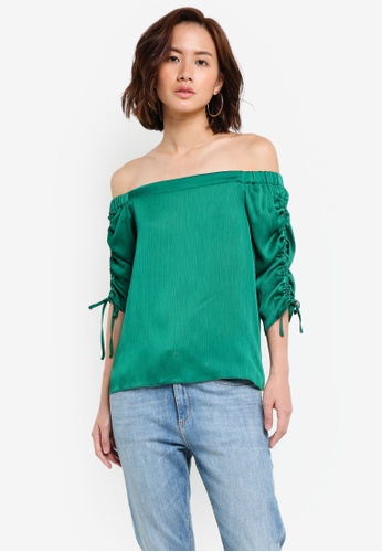 Dorothy Perkins green Petite Green Ruched Bardot Top DO816AA0RJP8MY_1