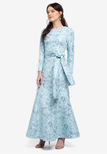 Zalia blue Jacquard Front Tie Mermaid Dress DA06DAAA8AEA62GS_1