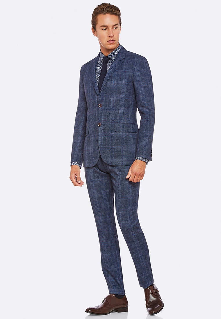 Oxford Blazer Checked Navy Wool Blend Larkin qnx4Wz1S