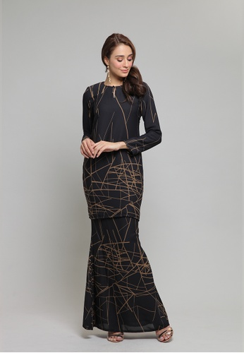 Rory Printed Kurung from Haydena in black_1