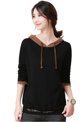 A-IN GIRLS black and brown Contrast Hooded T-Shirt 504B1AA1C50986GS 1 b86cb6a9527