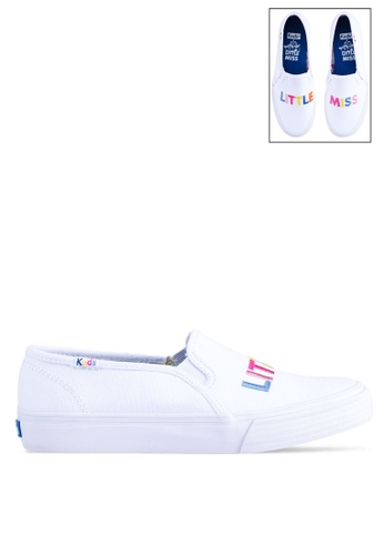 Keds white Double Decker Little Miss Tbd Vamp Slip Ons 37926SH512863AGS_1