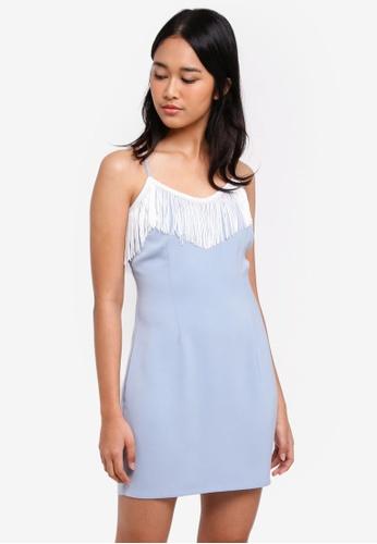 Something Borrowed blue Fringed Bodycon Cami Dress A5C60AA9317DFCGS_1