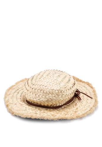 OVS 褐色 紙草Hat With Fringes 78F7EAC4619978GS_1