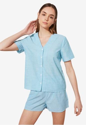 Trendyol blue Striped Woven Pyjama Set E9980AA28D59E5GS_1