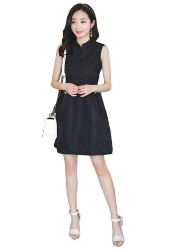 Lara black Round neck Sleeveless A-line Dress 261BBAAF387129GS_1