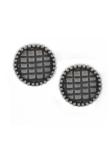 Aadyaa Singapore silver Itihaas Round Earrings with Square Motif 234F6AC776435FGS_1