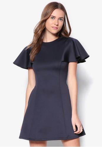 荷葉袖傘擺zalora 包包評價洋裝, 服飾, 正式洋裝