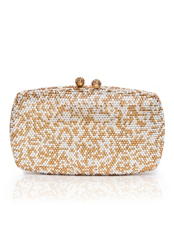 The Chic Initiative white and gold Mosaic Crystal Clutch (Gold White) TH778AC0T0P0MY_1