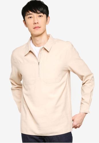 ZALORA BASICS beige Regular Fit Half Zip Utility Shirt 2C0D4AA8E71D5CGS_1